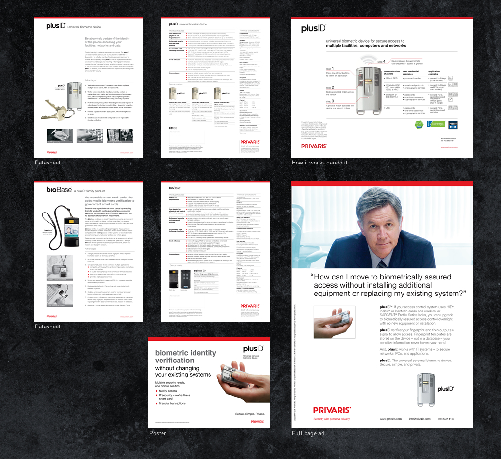 Product literature, ads, poster designs