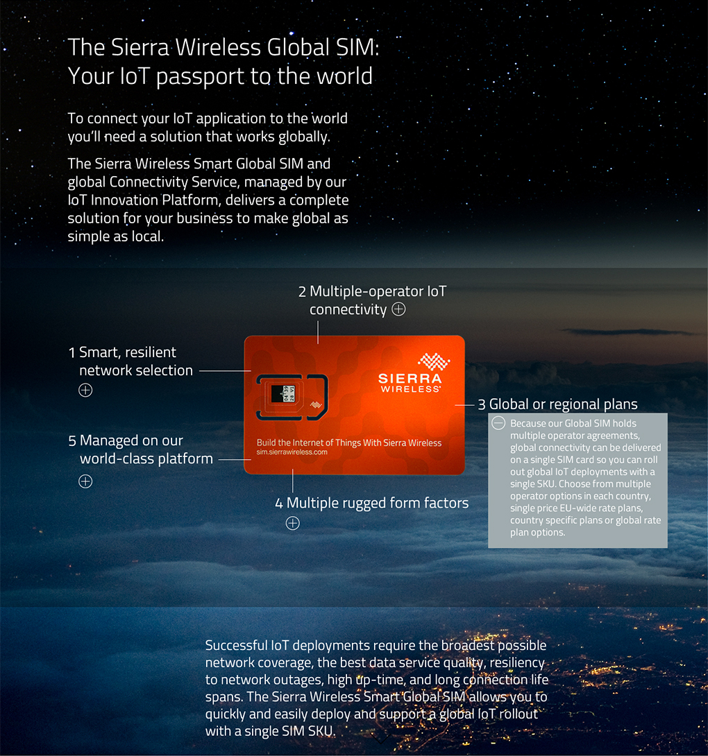 product launch landing page for Sierra Wireless