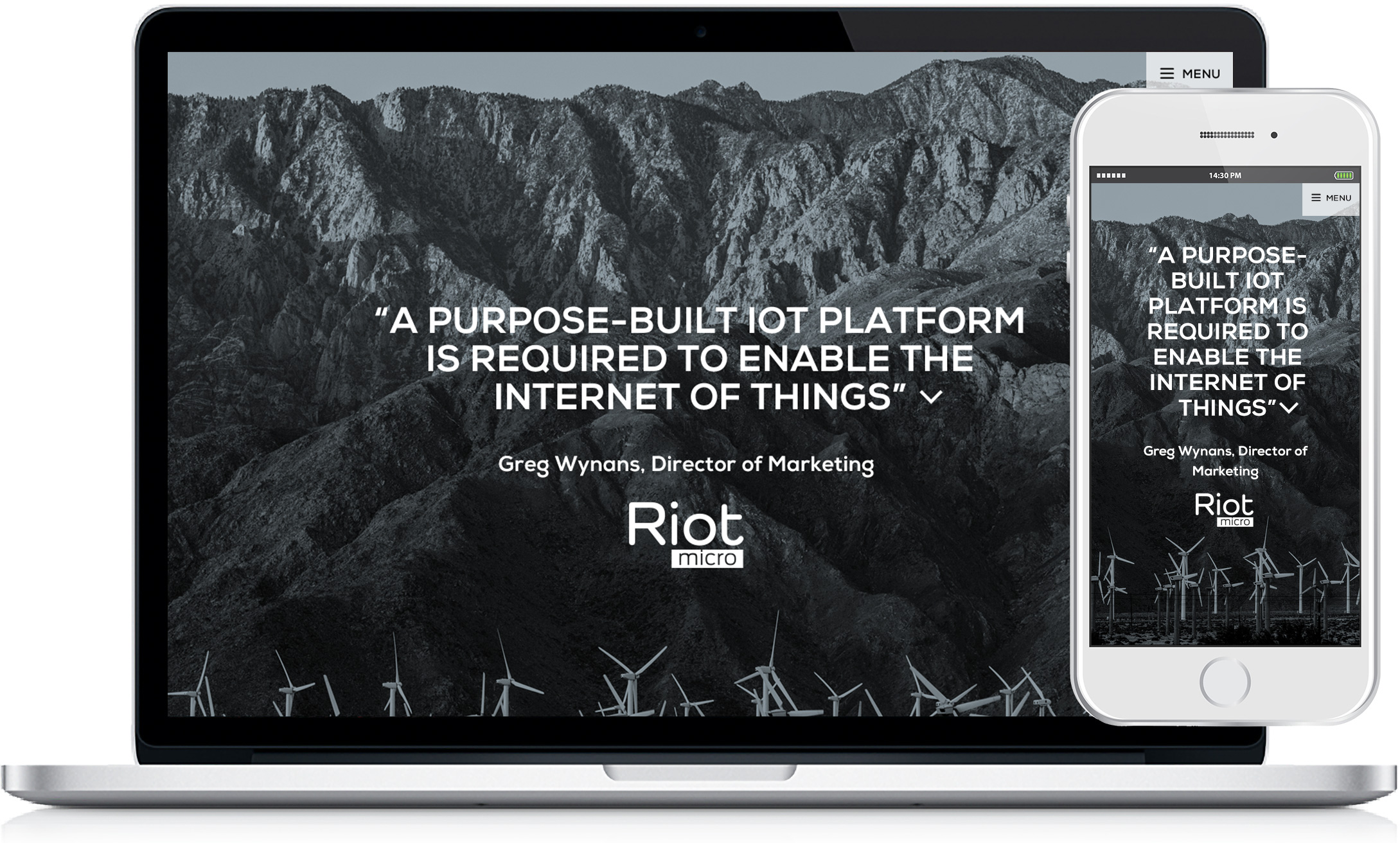 Website design for technology company Riot Micro